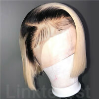 Pre Plucked Short Russian Human Hair Lace Front Wig Bob Ombre Blonde Full Wigs P