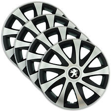 "Hub Caps 15"" PEUGEOT 207 307 308 406 607 4x Wheel Trim Cover SILVER+BLACK DRACO"