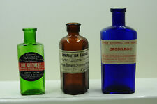 More details for nice group of 3 very old bottles with genuine old labels added