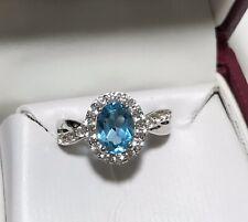 HELZBERG DIAMONDS RING STERLING SILVER BLUE TOPAZ NEW BEAUTIFUL