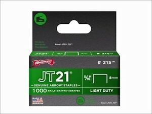 "ARROW JT21 #215 JT21 STAPLES 5/16"" 8MM FLAT CROWN PACK 1000 STAPLES x 1"