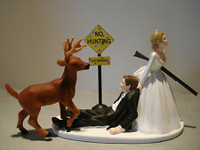 Hunt Hunter Hunting Humor Funny Bride Groom Wedding Cake Topper Buck Gun Sign