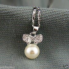 18k white Gold GF wings pearl elegant pendant necklace with Swarovski elements