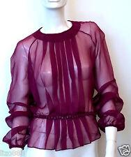 NEW VALENTINO burgundy silk beaded long sleeve pleated blouse Sz 10
