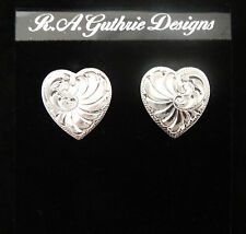 Heart Earrings | R.A. Guthrie | Sterling Silver | Made in USA | Post No Stone
