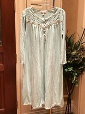 WOMEN'S NIGHT GOWN GREEN L/S SUPER SOFT BUTTON UP NECK BY CABERNET SIZE L=