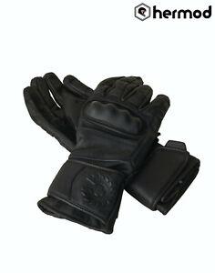 Belstaff Sprite Waterproof Leather Motorcycle Motorbike Gloves - Black