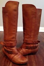 Miss Sixty Carmel Brown Tall Leather Boots Women's Size 38 7.5-8