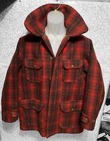Vintage 50's WOOLRICH Mackinaw Red Buffalo Plaid Wool Hunting Jacket Barn Coat42