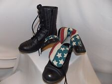 WOMENS BLACK COMBAT BOOTS AMER FLAG SIDE ZIPPER LACE UP MIX No 6 MILEY 7M