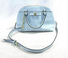 Merona Light Blue Solid Handbag Purse Bow Crossbody Gold Accent