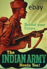 WW1 RECRUITING POSTER BRITISH INDIAN ARMY BRITISH EMPIRE NEW A4 PRINT
