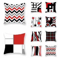Creative Geometric Pillow Case Waist Throw Cushion Cover Decor Black White Red