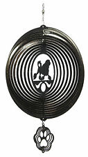Swen Products Lowchen Dog Circle Black Swirly Combo Metal Wind Spinner