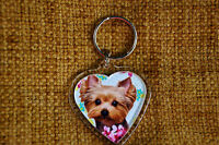 Yorkshire Terrier Keyring Yorkie Dog Key Ring heart shaped Xmas Mothers Day Gift