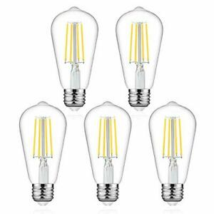 LED Edison Bulbs 60W Equivalent, High ≥95+ CRI Dimmable Daylight White 4000K