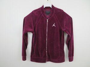 Air Jordan Velour Full Zip Track Bomber Jacket Basketball Burgundy Mens Large