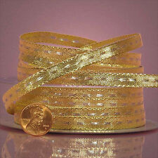 Center Stitch Metallic Ribbon 1/4 inches wide GOLD / SILVER  price for 3 yards