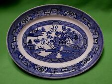 """Vintage Homer Laughlin BLUE WILLOW 13 1/2 """" oval serving platter. Model J41 N6"""