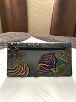 Anuschka Rose Safari Hand Painted Genuine Leather Wallet RFID