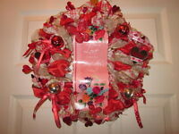 GRANDMOTHER'S RIBBON & BELL WITH SAYING HOLIDAY DECORATIVE WREATH HANDMADE