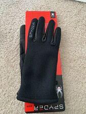 New Spyder Black Leather Palm Stretchable Gloves Size S / M