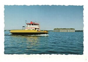 "1979 PC: Casco Bay Car Ferry ""Rebel"" Passing Fort Gorges, Portland, Maine"