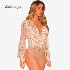 Sequin Bodysuit Leotard Catsuit Deep V-Neck Elegant Clubwear Mesh Bodysuit