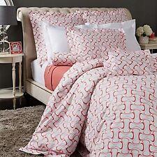 SFERRA Harwich King Duvet Cover Fine Italian Luxury Cotton Pink Coral Wave $450