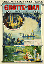 Grotte de Han, 1900 Vintage Belgium Travel Advertising Canvas Print 20x29