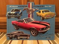 Ford Mustang embossed raised Metal Rat Rod Coupe Man Cave Garage Emblem