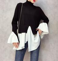 Womens Turtleneck Long Sleeve Loose Knit Shirts Korean Casual Pullover Tops size