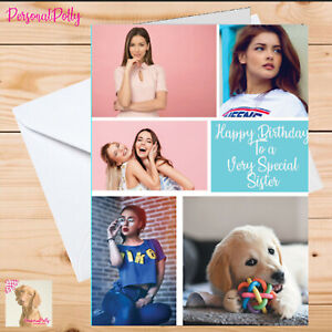 Personalised Photo Card Birthday Insert Five Collage