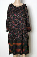edc by ESPRIT Kleid Gr. 36 schwarz-bunt knielang 3/4-Arm Paisley Hüft Kleid