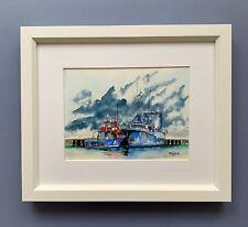 "Original Framed Watercolour "" Gathering Storm"" Fremantle Fishing Harbour, W Aust"
