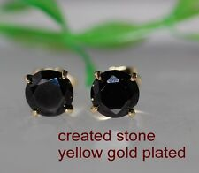 2x 2ct round black sapphire studs earrings