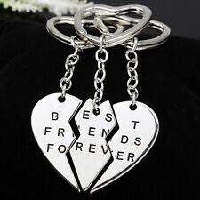 3Pcs Silver Plated Best Friends Forever Friendship Keyrings Key Chain Keyfob Set