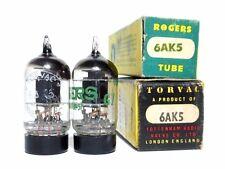 """Matched NOS PAIR 1950s' Mullard Whyteleafe """"A"""" 6AK5 E95F Tubes Little Dot - Rare"""