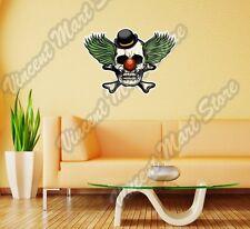 """Clown Skull Cirque Scary Evil Bones Wall Sticker Room Interior Decor 25""""X20"""""""