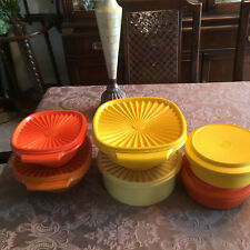 Vintage Tupperware Bowls Yellow Orange Brown Lot of 6