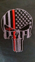 Thin Red Line Punisher Patch Iron on Firefighter New USA flag