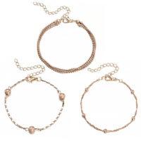 Elegant Women Gold Plated Cuff Bracelet Bead Bangle Gold Chain Charm Jewelry