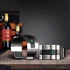 LCD Stainless Steel Wine Bracelet Thermometer Creative Wine Thermometer Bar Club