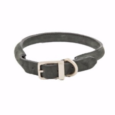 Just For Puppy Rolled Leather Puppy Collar Charcoal XS