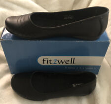 Free Shipping FITZWELL Katelyn Black Flats Genuine Leather 9M