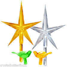 "2 LARGE Modern Stars Gold & Clear 2-1/2"" wide for Ceramic Christmas Tree + BONUS"