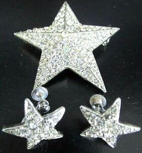 LEDO Sparkling Ice Rhinestone Star Vintage Pin Earring Set
