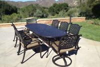 9 piece patio dining set cast aluminum outdoor furniture seats 8 table Bronze