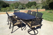 9 piece patio dining set cast aluminum outdoor furniture seats 8 table Bronze