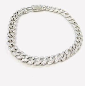 925 Sterling Silver Men's Bracelet Cuban Link With Cubic Zirconia and Box Luck.